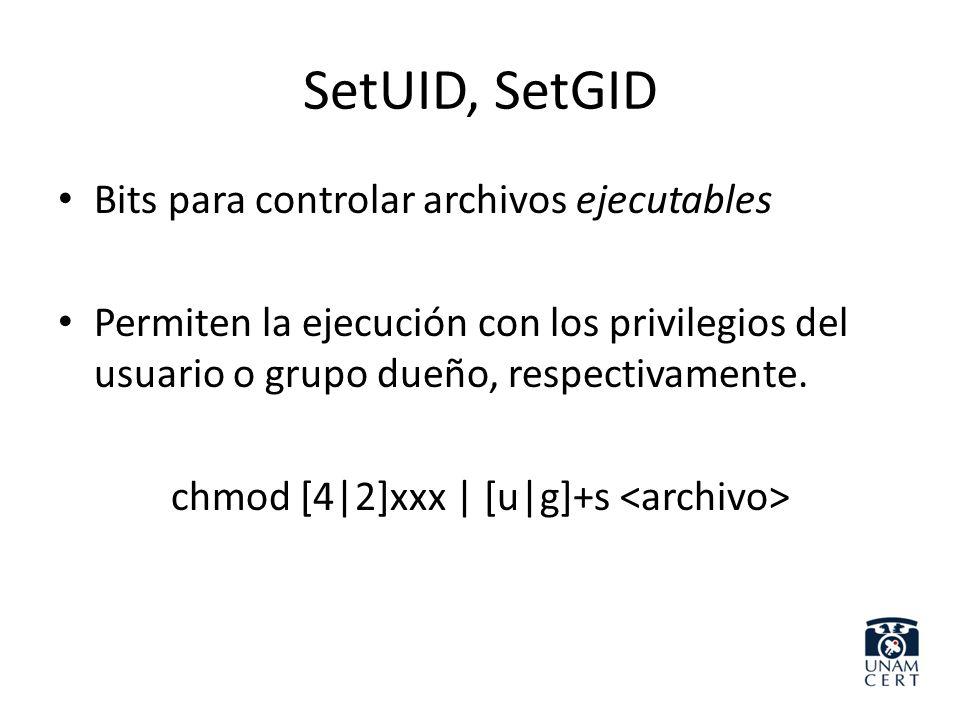 chmod [4|2]xxx | [u|g]+s <archivo>